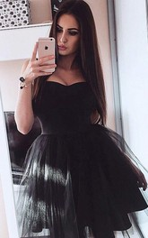 Sleeveless A-line Ball Gown Short Mini Sweetheart Pleats Ruching Satin Tulle Homecoming Dress