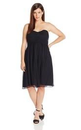 Sweetheart Chiffon Knee-length plus size Bridesmaid Dress With Zipper