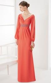 Plunged puff Long Sleeve Chiffon Dress With Embellished Waist