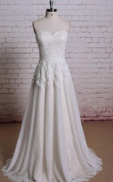 Champagne Underlay Pleats Lace Sweetheart Gown