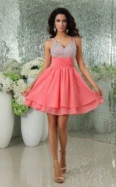 Shining V-Neck Chiffon Backless Dress With Sequined Top