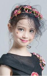 Princess Style Tulle Flower Girl Blusher Veil