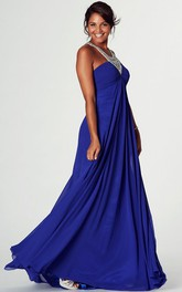 jeweled Jersey Ruched long Prom Dress With Zipper