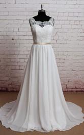 Chiffon Lace Bodice Sleeveless Scoop-Neckline Dress