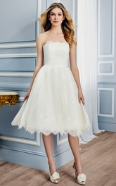 Strapless Lace Tea-length A-line Wedding gown