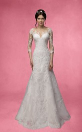 Mermaid Long 3-4-Sleeve Illusion Lace Dress With Appliques