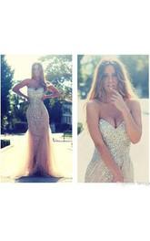 Sequined Illusion Inspire Tulle Column Mermaid Gown
