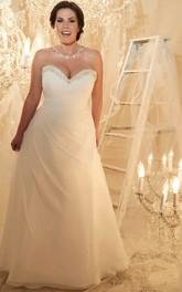 Sweetheart Criss cross Beaded plus size wedding dress