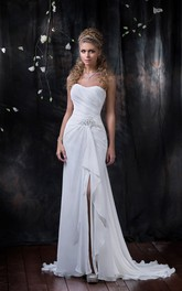 Sleeveless Slit Front Draping Floor-Length Column Chiffon Dress