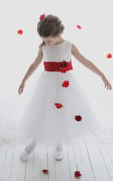 Tulle Slit-Front Tea-Length Sequined Flower Girl Dress