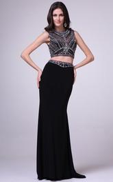 2-Piece Illusion Crystal Column Full-Length Sleeveless Jewel-Neck Jersey Dress