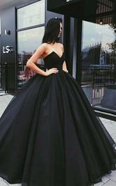 Strapless Ball Gown V-neck Chiffon Sleeveless Floor-length Prom Dress