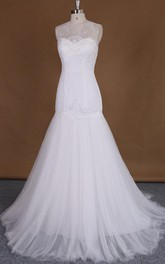 Tulle Appliqued Illusion Satin Jewel Fishtail Lace Gown