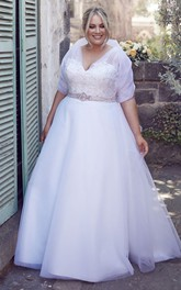 V-neck wrapped A-line Appliqued plus size wedding dress With Jeweled Waist And Tulle Overlay