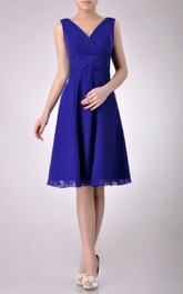 Chiffon Low-V Back Inspire V-Neck Short-Midi Bridesmaid Dress