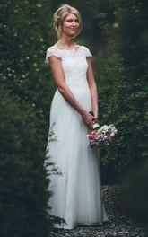 Bateau Satin Lace Tulle Short Sleeve Floor-length Button Illusion A Line Wedding Dress