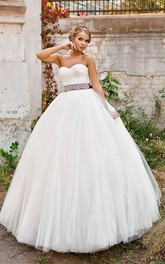 Sweetheart Criss Cross Tulle Waist Jewellery Ball-Gown Princess Lace-Up Dress