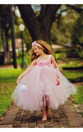 Sleeveless Tulle Pink Light Floral-Bodice Flower Girl Dress