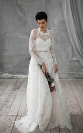 Lace High Neck Long Sleeve A-line Wedding Dress With Jeweled Waist