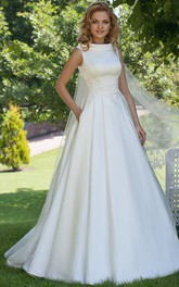 Bateau A-line Satin Wedding Dress With Beaded waist And Corset Back
