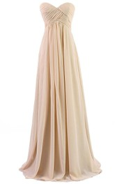 Sweetheart Criss cross Empire Chiffon Long Bridesmaid Dress