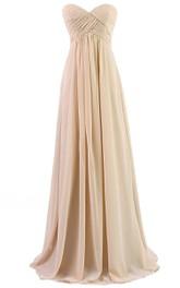 Sweetheart Criss cross Empire Chiffon Long Bridesmaid Dress