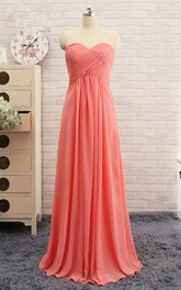 Sweetheart A-line Long Chiffon Dress with Criss-cross Ruching