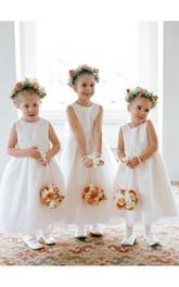 Princess Bowknot Sleeveless Jewel Lovely Flower Girl Dress