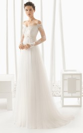 Off-the-shoulder Lace Long Sleeve Tulle Wedding Dress With Illusion