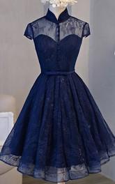 High Neck Lace Short Sleeve Knee-length Keyhole Formal Dress with Sash