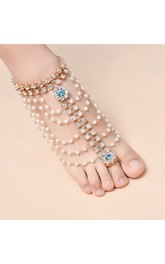 Individuality Exaggerated Alloy Anklets Multi-layered Pearl Tassel Diamonds And Even The Foot