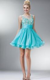 A-Line Tiered Appliqued Short Mini Sleeveless Bateau Chiffon Dress