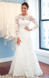 Long-Sleeve White Brush Train Lace Elegant Wedding Gown