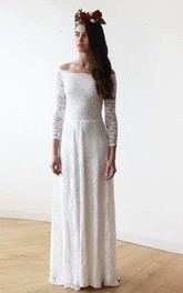 Floor-Length Off-The-Shoulder Long Sleeve Floral Lace Wedding Dress