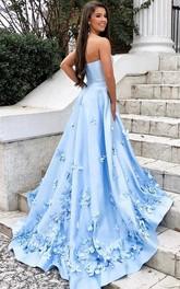Strapless Sweetheart Satin Sleeveless Court Train A Line Formal Dress