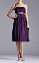 Chiffon Jeweled Belt A-Line Spaghetti Midi-Length Dress