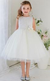 Jewel-Neck Sleeveless A-line Tulle Appliqued Tea-length flower girl Dress
