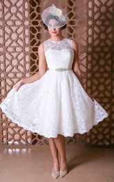 Jewel-Neck Sleeveless Lace short A-line Wedding Dress
