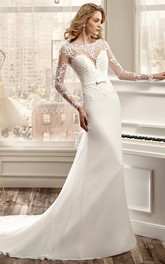 Bateau Illusion Long Sleeve Sheath Wedding Dress With Appliques And Court Train