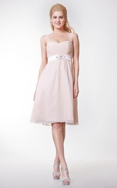Chiffon Satin Ribbon Rhinestone Bow High-Waist Spaghetti Dress