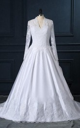 Lace Button Long-Sleeve V-Neckline Wedding Gown