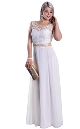 Sleeveless Lace Scoop-Neck High-Waist Illusion Chiffon Dress