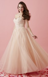 Full-Length Appliqued Sweetheart Strapless Tulle Sleeveless Lace-Up-Back Ball Gown