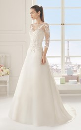 Bateau Illusion 3-4-sleeve A-line Wedding Dress With Appliques And Court Train