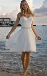 Short Beaded Waist Crisscross Angelic Gown