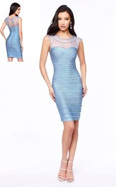 Pencil Knee-Length Scoop-Neck Sleeveless Illusion Dress With Beading