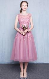 Beaded Formal Appliqued Scoop-Neckline Tea-Length Dress