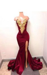 Bodycon Notched Taffeta Sexy Tall Women Sweep Brush Train Sleeveless Appliques Split Front Dress
