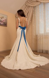 Lace Button Wedding Tulle Mermaid Satin Gown