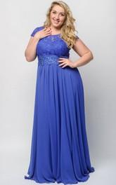 Short-Sleeve Illusion Floor-Length Empire Lace Dress
